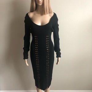 Black Naked Wardrobe Bodycon Dress L EUC